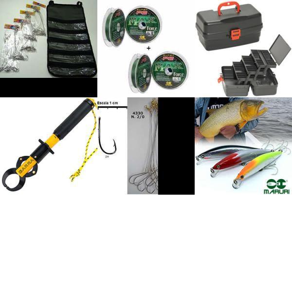 Kit de pesca anzol + alicate + isca + linha + caixa de pesca