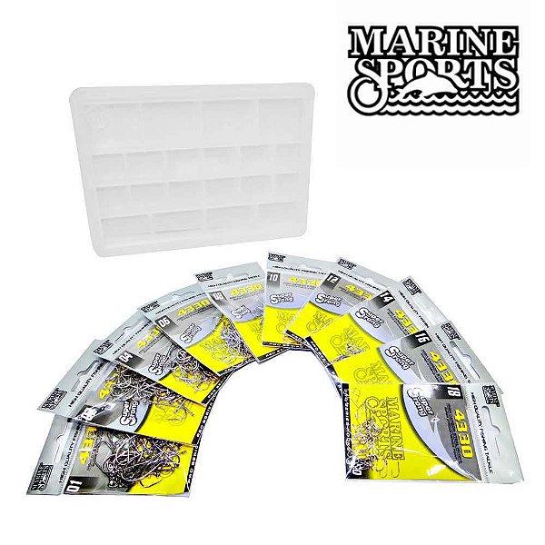 Kit 500 Anzol Marine Sports 4330 N.1 a 18 + Estojo - Todos peixes