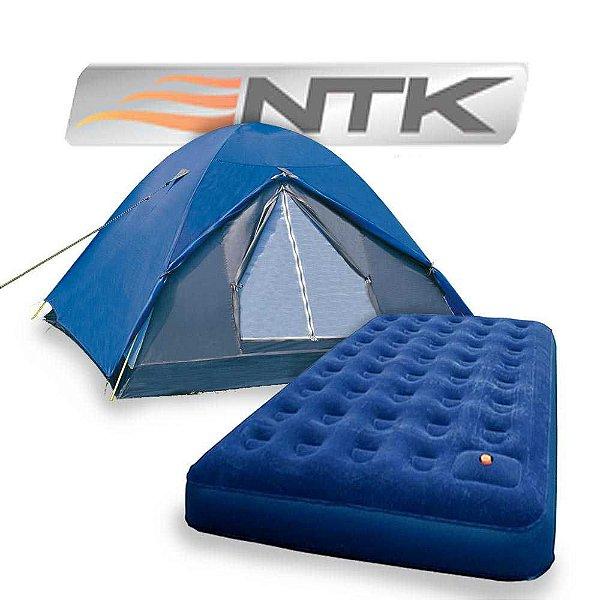 Kit Camping: Barraca Nautika Fox 4/5 pessoas + Colchão inflável Nautika Zenit Casal com inflador incorporado...