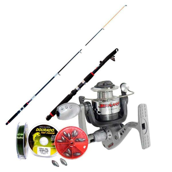 Kit de pesca Vara c/ Molinete MS Jimmy + acessórios