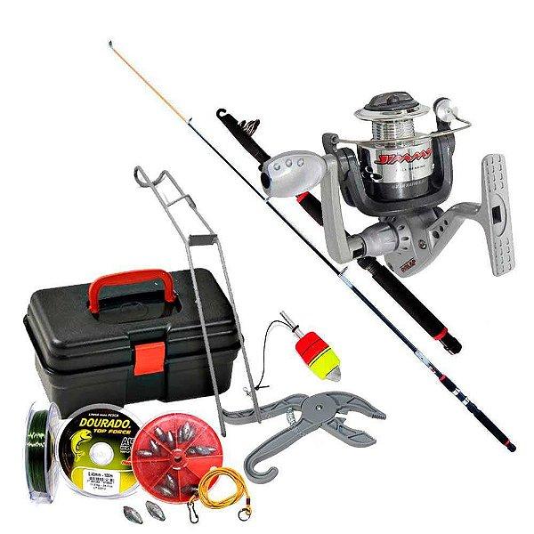 Kit de pesca Vara c/ Molinete MS Jimmy + maleta + acessórios
