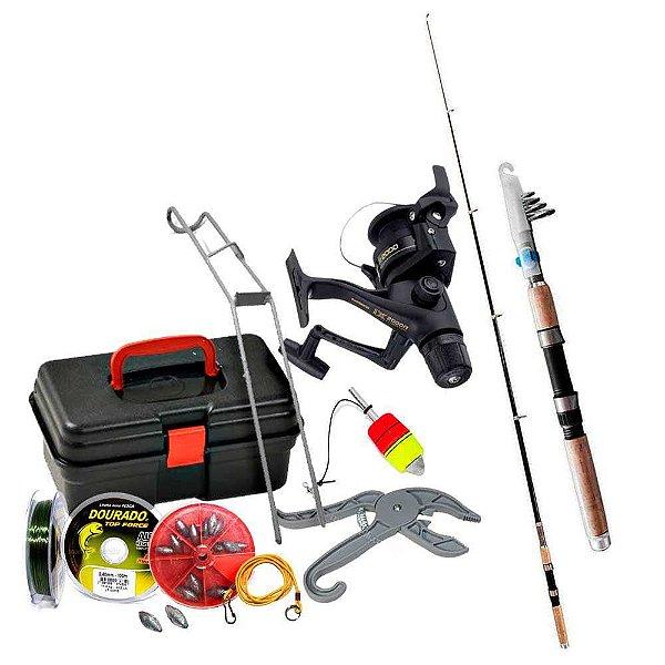 Kit de pesca Vara c/ Molinete Shimano + maleta + acessórios