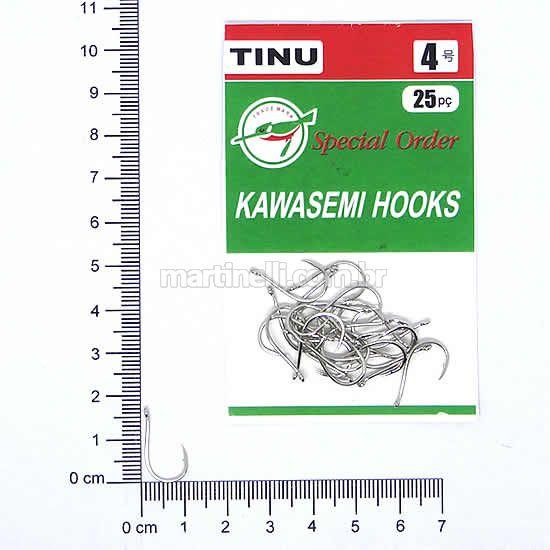 Anzol Kawasemi Tinu Nickel 04 com 25 unidades.