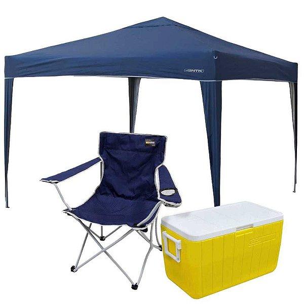 Gazebo Tenda articulado (dobrável) Nautika Trixx+ Cadeira Nautika Alvorada+ Caixa Térmica Coleman 48 QT 45,4L Amarela