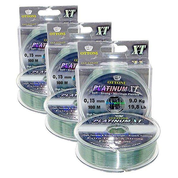 300 Linha Monofilamento Platinum XT - 0,15mm 3 unidade de 100m