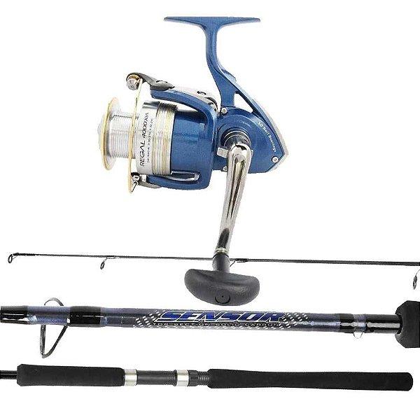 de Dourado: Molinete Daiwa Regal 4000 XIA - 10 rolamentos + Vara Marine Sports Sensor SER-S602H - 20-40lb 1,83m