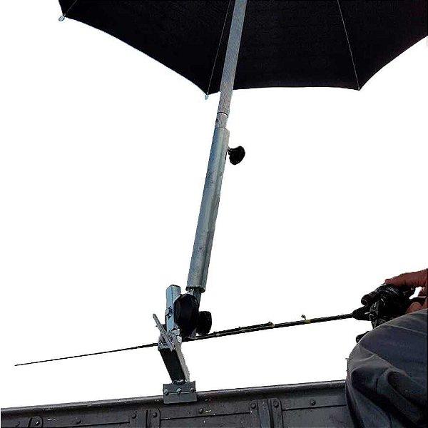 Kit Martinelli: Suporte p/ guarda sol, para borda super reforçado + Guarda Sol Alumínio dupla face 1,60 m