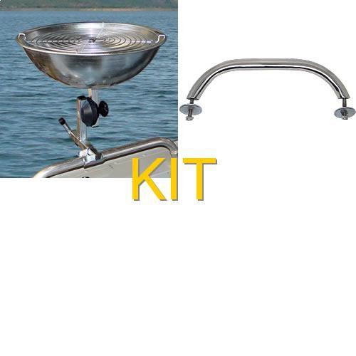 Kit Martinelli: Churrasqueira para barco com grelha... + Pega de inox para fixação no barco.