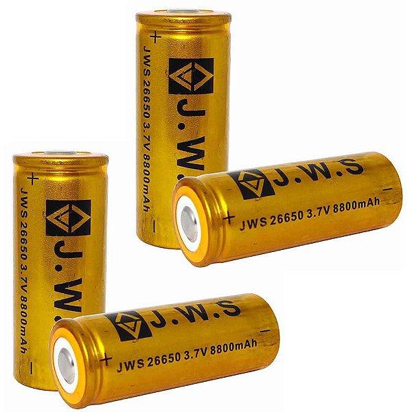 4X Bateria Recarregável JWS 26650  c/ 8800 Mah p/ lanternas