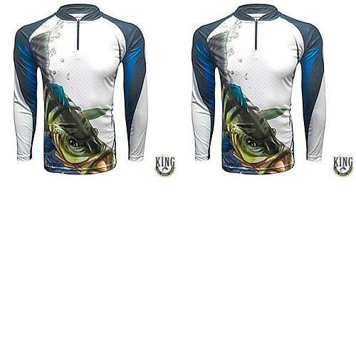 2 Camiseta de Pesca King 19 Tucunaré - Tam: 03 - G