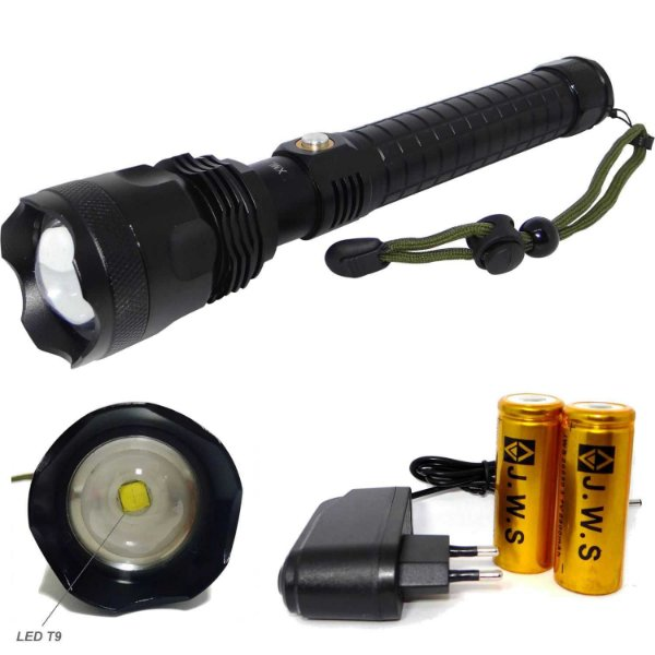 Lanterna Tática Super Led Branco T9 Recarregável 2 Bateria Modelo 26650