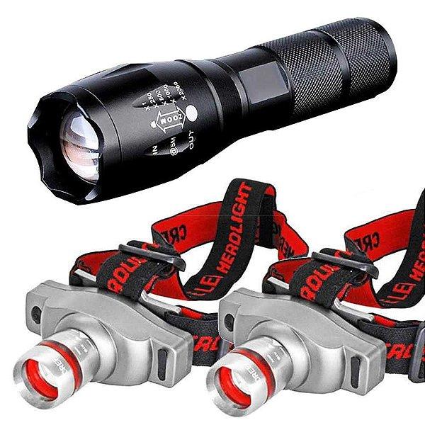 2 Lanterna Tatica Militar CREE Led Martinelli 1000 T6-G2+Lanterna De Cabeça T6LedCree