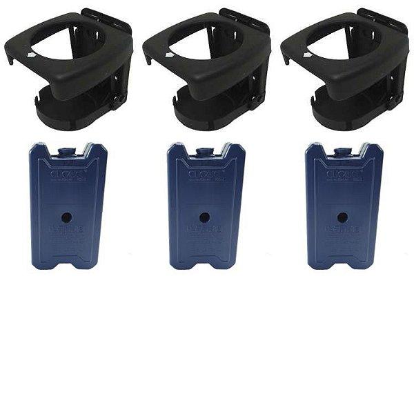 Porta copos dobrável Preto 3 pçs + Gelo Artificial 500 3 pçs
