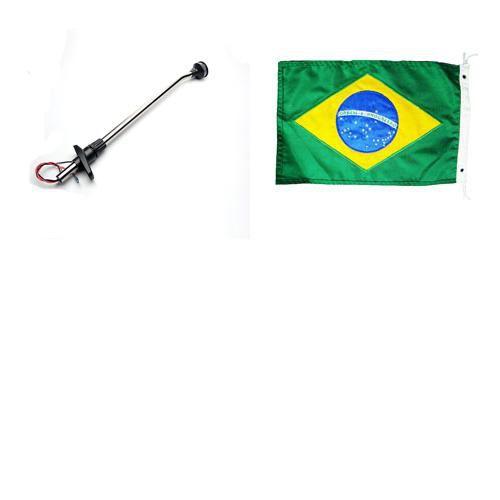 MASTRO DE POPA ALTA INTENSIDADE ESTROBO + Bandeira do Brasil