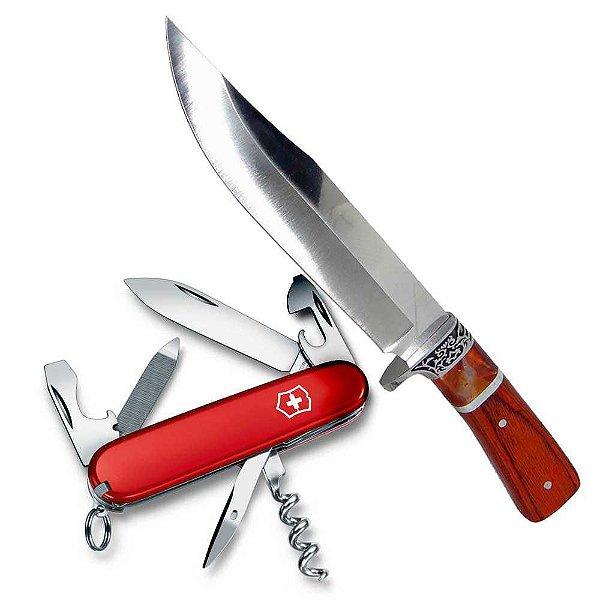 Faca Hz-06-1042 Cabo Mad + Canivete Victorinox Spo 13 Funçõe