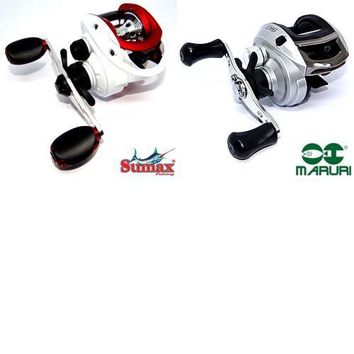 Carretilha Sumax Akita 7000 - 7 rolamentos - direita + Carretilha para Pesca Maruri P4 - 4 Rolamentos - 6:3:1