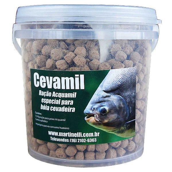 Balde Cevamil Ração Para Pesqueiro Acquamil 1,5kg C/ Caneca