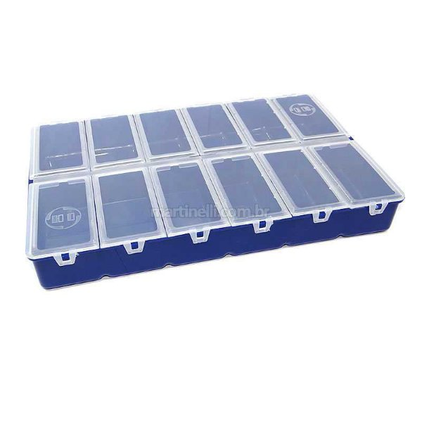 Estojo HI com 12 divisórias com tampas individuais - 18 x 27,5 cm azul ES-12-A