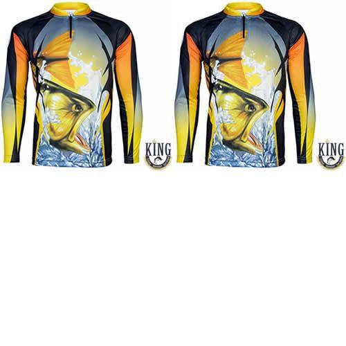 2 Camiseta de Pesca King 28 - Dourado - Tam: 05 - EX