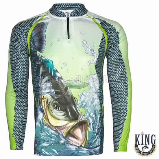 Camiseta de Pesca King 22 verde - Tucunaré - Tam: 04 - GG