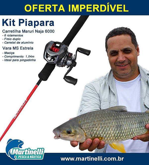 Kit Piapara: Carretilha Maruri Naja 6000 SHIL Esquerda - 6 rol - Freio duplo + Vara Marine Sports Estrela C341ML Vermelha - 6-12lb.