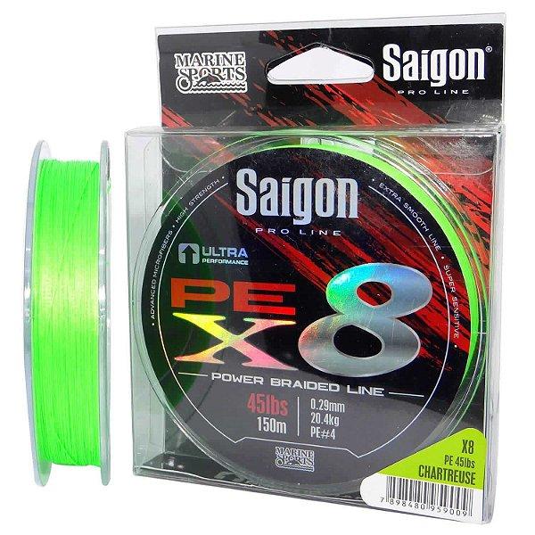 Linha multi Saigon X8 150m 0,29mm 45lb Chartreuse