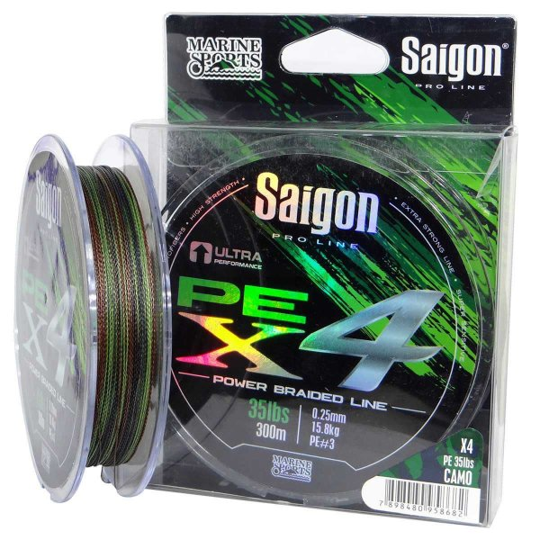 Linha multi Saigon X4 300m 0,42mm 70lb Camouflaged