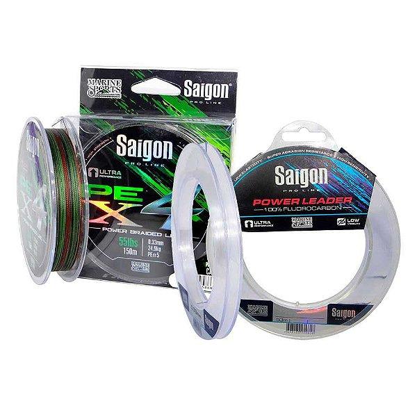 Linha Saigon X4 300m 0,42mm Camou + Linha Fluorc Saigon 0,49