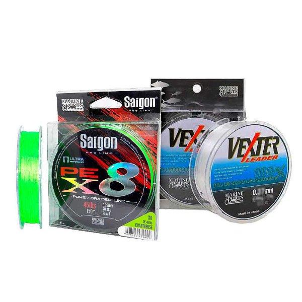 Linha mult Saigon X8 150m 0,25mm Chart + Linha Fluorc 0.42mm