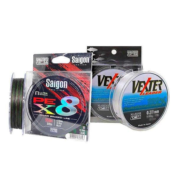 Linha mult Saigon X8 300m 0,36mm Camou + Linha Fluorc 0.52mm