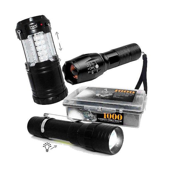 Lanterna Tática Militar Martinelli 1000 + Lampião Recarregável J.W.S  + Lanterna lampião mini USB