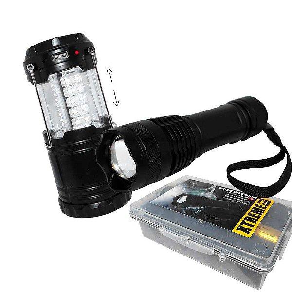 Lampião Recarregável J.W.S WS-85B Solar + Lanterna Tática Especial Xtreme c/ Super Led T9 c/ bateria extra