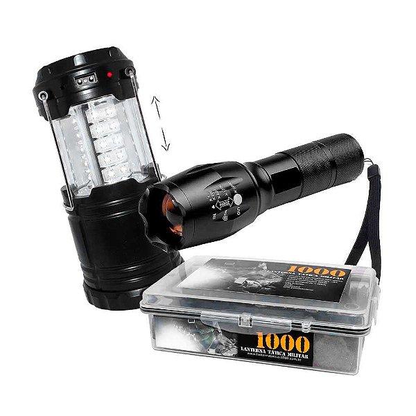 Lampião Recarregável J.W.S WS-85B Solar + Lanterna Tática Militar Martinelli 1000