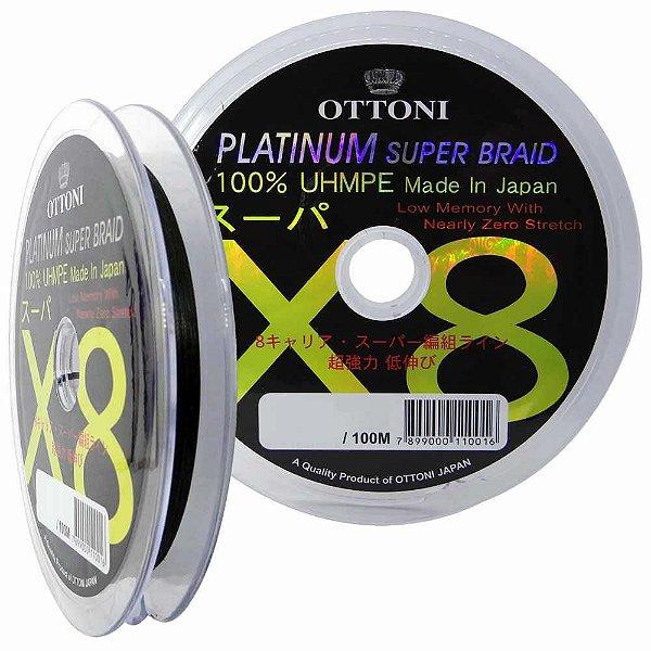 Linha Multifilamento Platinum X8 0,18mm 30lb/13.7kg - Verde - Carretéis de 100m contínuos