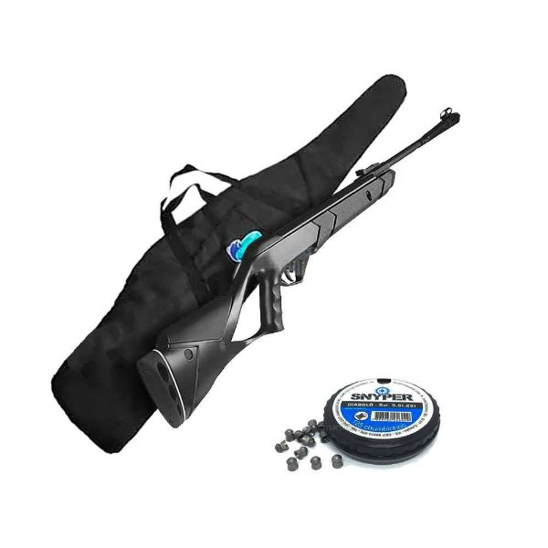 Carabina de pressão CBC Nitro Advanced Cal. 5,5mm GRÁTIS: Bolsa de transporte + 125 chumbinhos Snyper 5,5mm