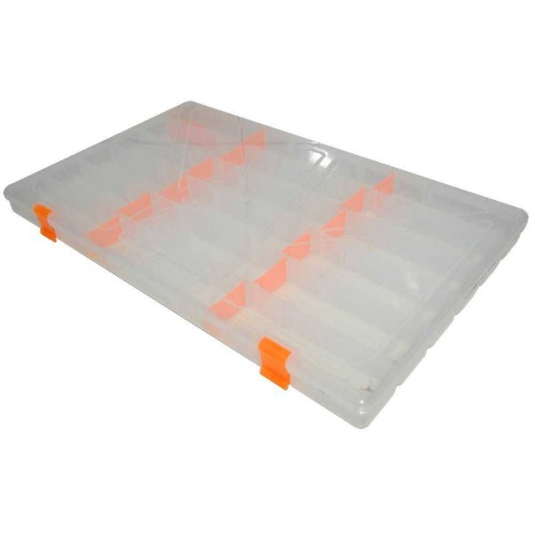 Estojo p/ iscas Box 23 Transparente c/ Trava Laranja Xb12