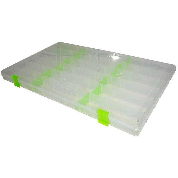 Estojo p/ iscas Box 23 Transparente c/ Trava Verde Xb11