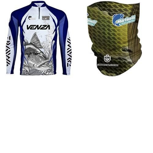 Camiseta de Pesca King Sublimada Venza Tam: G... + Breeze King Pro Tucunaré - Proteção UV (Máscara de Prot...