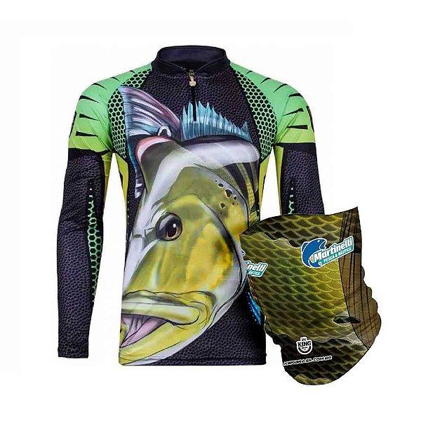 Camiseta de Pesca King  Kf 107 - tam: GG + Breeze King Pro Tucunaré - Proteção UV (Máscara de Proteção Solar)