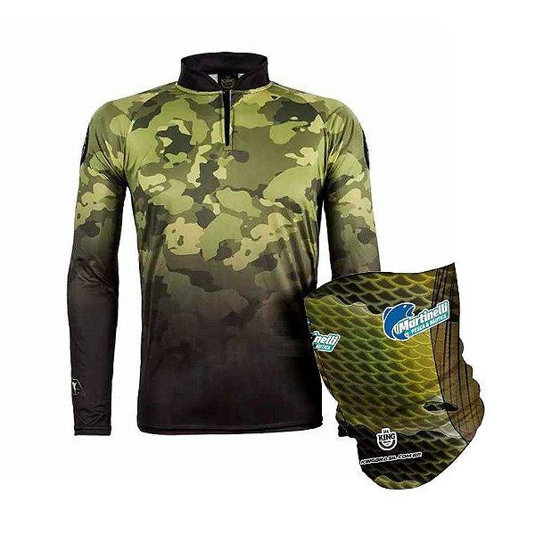 Camiseta de Pesca King Atack 01 - Tam: 03 - G + Breeze King Pro Tucunaré - Proteção UV (Máscara de Proteção Solar)
