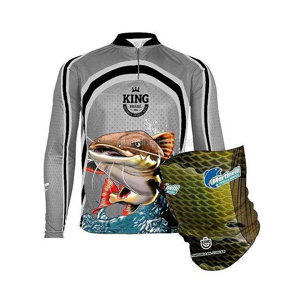 Camiseta de Pesca King 77 - Pirarara - Tam: 04 - GG + Breeze King Pro Tucunaré - Proteção UV (Máscara de Proteção Solar)