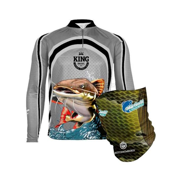 Camiseta de Pesca King 77 - Pirarara - Tam: 02 - M + Breeze King Pro Tucunaré - Proteção UV (Máscara de Proteção Solar)
