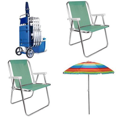 Carrinho de Praia Mor c/ avanço + 2 Cadeiras Praia Camping Alta Aluminio Sannet-anis + Guarda Sol Alumínio 2,0m