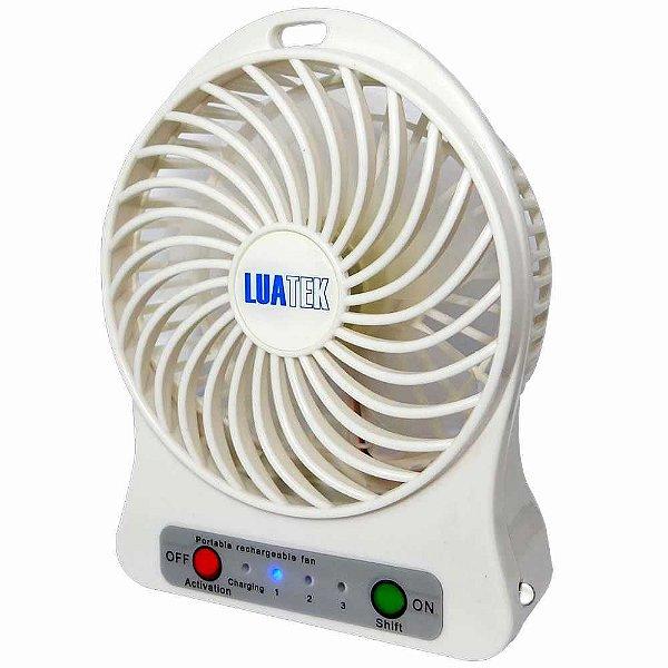Ventilador Portátil Luatek Recarregável 3 Velocidades c/ luz