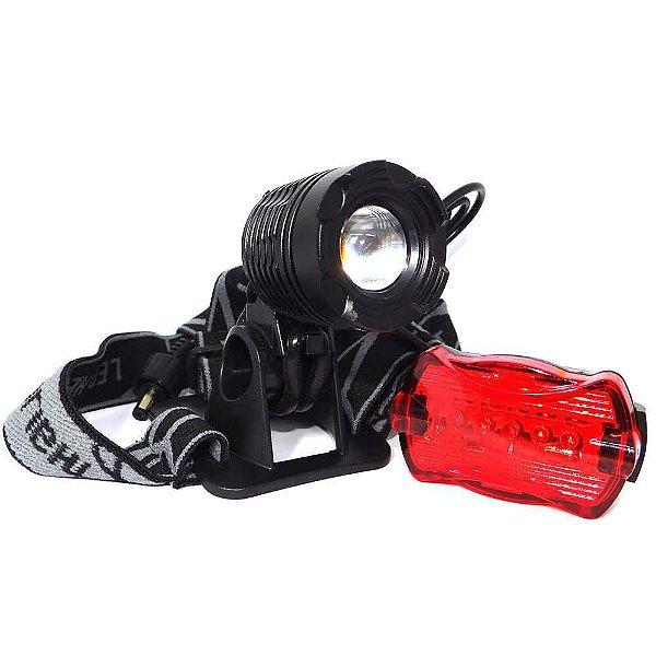 Farol Bike Lanterna de cabeça Led T6 c/ zoom Cqn 6610