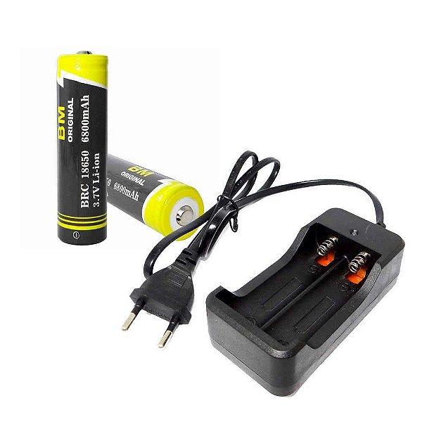 Carregador Duplo Bateria 18650 Bivolt + 2 Bateria 18650