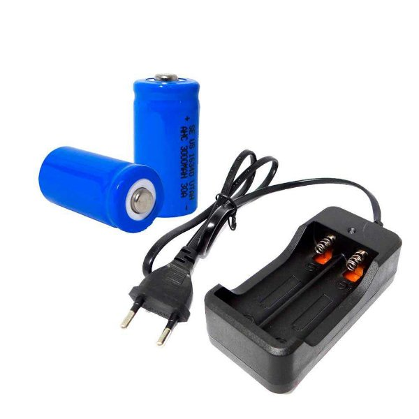 Carregador Duplo Bateria 18650 Bivolt + 2 Baterias 16340
