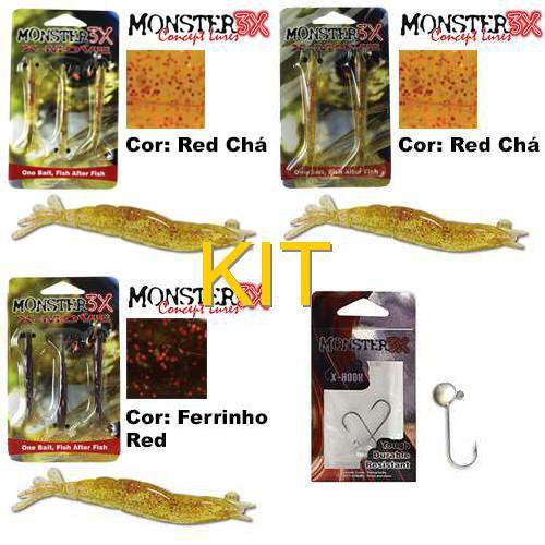 Isca X-Move Monster 3X 9.0 Cm Cor:... + Isca X-Move Monster 3X 12 Cm Cor: ... + Isca X-Move Monster 3X 9.0 Cm Cor:... + Anzol Monster 3X Jig Head - 3/0 - ...