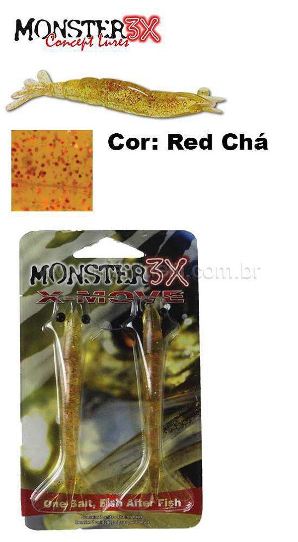 Isca artificial X-Move Monster 3X 12 Cm Cor: Red Chá com 2 unidades