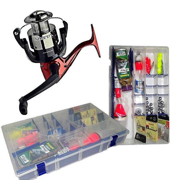Molinete Marine Sports Vista 4000 + Kit Super Pesca - Estojo Linhas Anzóis e Acessórios